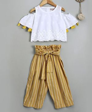 Soul Fairy Embroidered Cold Shoulder Half Sleeves Top With Striped Pants - White & Yellow