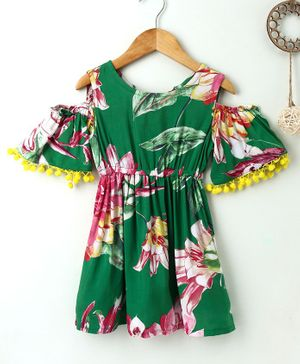 Soul Fairy Floral Printed Cold Shoulder Half Sleeves Tassel Decorated Dress - Green