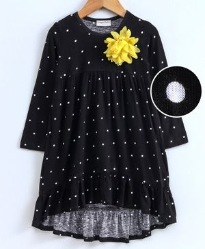Crayonflakes Dots Printed Full Sleeves Dress - Black