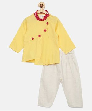 Tutus By Tutu Pleated Button Detailed Full Sleeves Kurta With Pajama - Yellow
