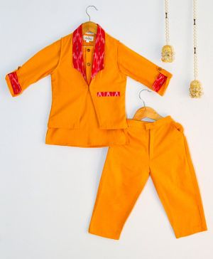 Tutus By Tutu Full Sleeves Short Kurta With Ikat Print Jacket & Pants - Yellow