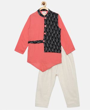 Tutus By Tutu Full Sleeves Kurta With Attached Ikat Print Jacket & Pajama - Pink