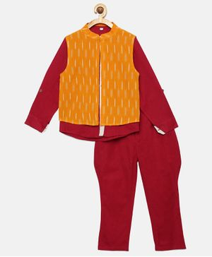 Tutus By Tutu Full Sleeves Shirt With Ikat Print Jacket & Balloon Pants - Orange & Maroon