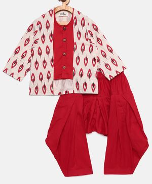 Tutus By Tutu Ikat Print Full Sleeves Kurta & Patiala - Red & White