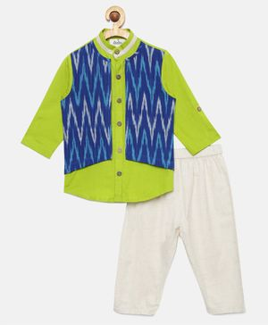 Tutus By Tutu Short Full Sleeves Kurta With Attached Ikat Print Jacket & Pajama - Blue & Green