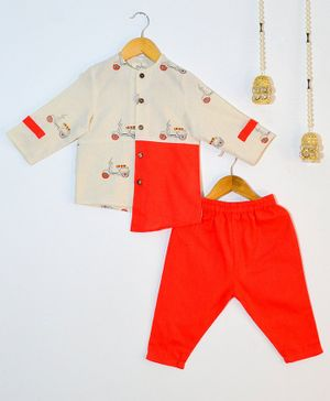 Tutus By Tutu Scooter Print Full Sleeves Kurta & Pajama Set - White & Red