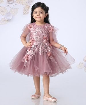Mark & Mia Sleeveless Frock Leaf Embroidery - Pink