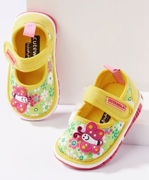 Cute Walk by Babyhug Canvas Shoes Butterfly Patch - Yellow