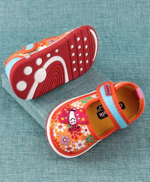 Cute Walk by Babyhug Canvas Shoes Butterfly Patch - Orange