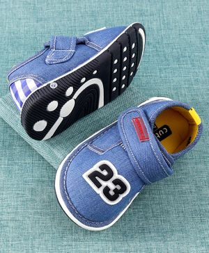 Cute Walk by Babyhug Canvas Shoes Numeric 23 Patch - Blue