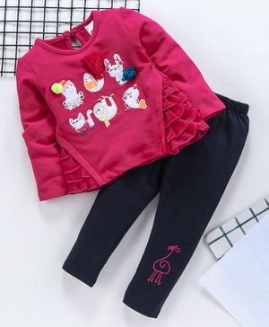 Babyhug Full Sleeves Top With Bottom Set Animal Patch - Fuchsia