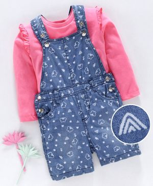 Babyhug Denim Dungaree with Full Sleeves Inner Tee Butterfly Print - Blue Pink