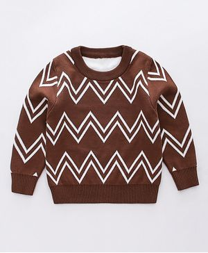 Awabox Zig Zag Design Full Sleeves Sweater - Brown