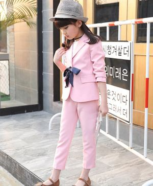 Awabox Bow Decorated Front Pocket Full Sleeves Blazer With Pants - Pink