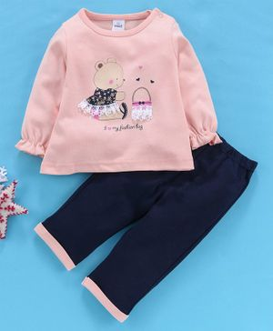Olio Kids Full Sleeves Tee & Bottoms Set Bear Print - Peach Navy Blue