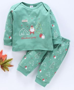 Olio Kids Full Sleeves Tee And Pant Christmas Print - Grass Green