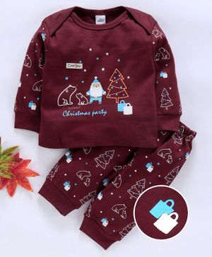 Olio Kids Full Sleeves Tee And Pant Christmas Print - Maroon