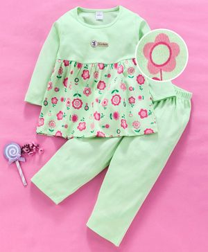 Olio Kids Full Sleeves Frocks with Legging Green 3-6mFemale