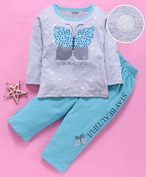 Doreme Full Sleeves Tee & Lounge Pant Butterfly Print - Blue