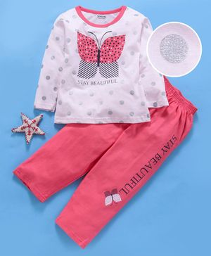 Doreme Full Sleeves Tee & Lounge Pant Butterfly Print - Pink