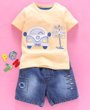 Wonderchild Car Patch Half Sleeves Tee With Denim Shorts - Yellow