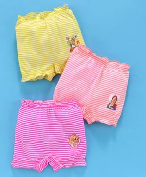 Red Rose Bloomers Barbie Print Pack of 3 - Orange Pink Yellow