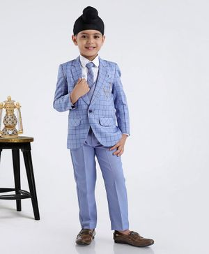 Robo Fry Full Sleeves 4 Piece Party Wear Suit - Blue