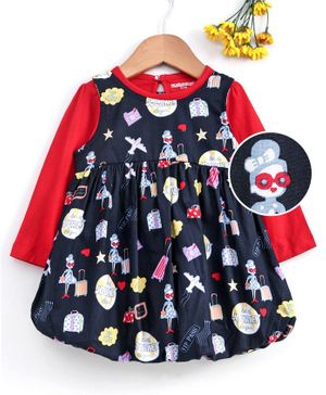 Cucumber Frock With Full Sleeves Inner Tee Multi Print - Navy Blue Red