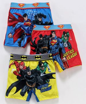 Red Rose Boxers Justice League Print Pack of 3 - Multicolor