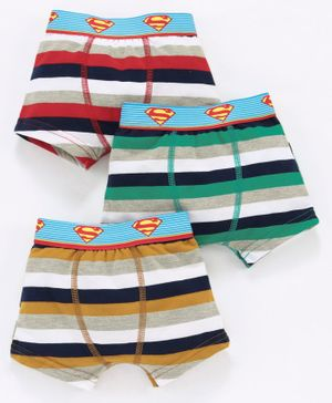 Red Rose Striped Boxers Superman Print Pack of 3 - Multicolor
