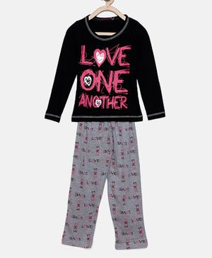 Nins Moda Love One Another Print Full Sleeves Night Suit - Black