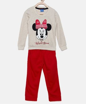 Nins Moda Minnie Mouse Printed Full Sleeves Night Suit - Off White