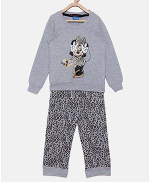 Nins Moda Minnie Mouse Printed Full Sleeves Night Suit - Grey
