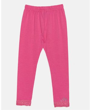 Nins Moda Solid Full Length Elasticated Leggings - Pink
