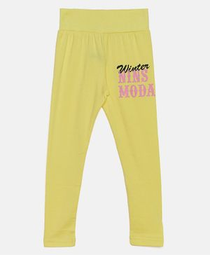 Nins Moda Text Printed Full Length Elasticated Leggings - Yellow