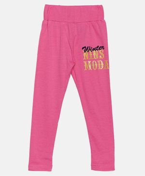 Nins Moda Text Printed Full Length Elasticated Leggings - Pink