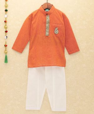 Lil Pitaara Sequin Detailed At Neckline Full Sleeves Kurta With Salwar - Orange