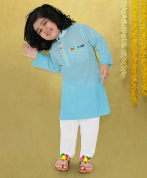 Lil Pitaara Helicopter Buttons Detailed At Neckline Full Sleeves Kurta With Salwar - Light Blue