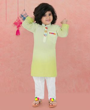 Lil Pitaara Snail Buttons Detailed At Neckline Full Sleeves Kurta With Salwar - Light Green