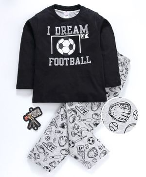 Smarty Full Sleeves Tee & Lounge Pant Football Print - Black