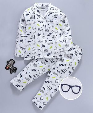 Smarty Full Sleeves Night Suit Multiprint - Off White