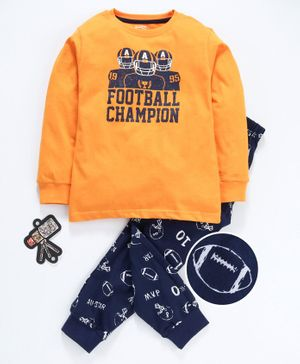 Smarty Full Sleeves Tee & Lounge Pant Football Champion Print - Yellow & Navy