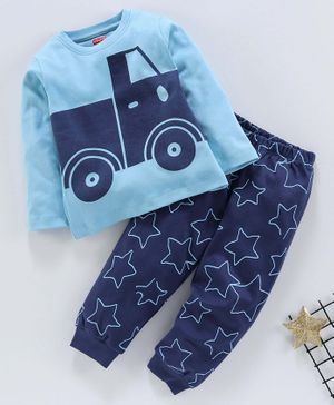 Babyhug Full Sleeves Night Suit Vehicle Print - Blue