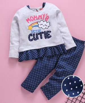 Babyhug Full Sleeves Night Suit Text Print - Blue Grey