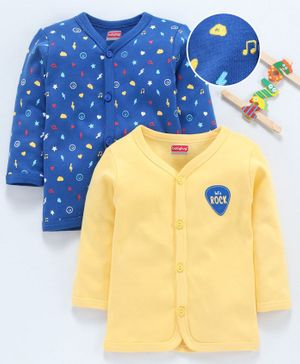 Babyhug 100% Cotton Full Sleeves Printed Vest Pack of 2 - Yellow Blue