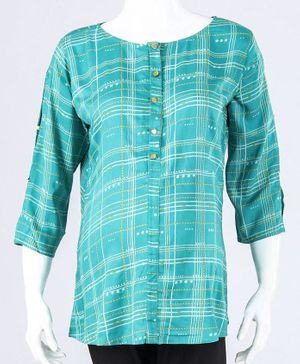 Kriti Three Fourth Sleeves Checks Top - Green