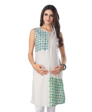 Kriti Sleeveless Printed Maternity Kurta - Off White