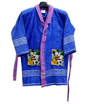 Disney Mickey Print Baby Bathrobe - Blue