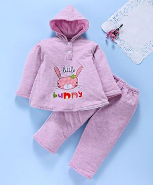 Tappintoes Full Sleeves Winter Wear Tee & Lounge Pants Bunny Patch - Purple