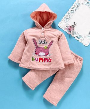 Tappintoes Full Sleeves Winter Wear Tee & Lounge Pants Bunny Patch - Peach